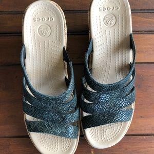 Crocs charcoal gray snake print slides